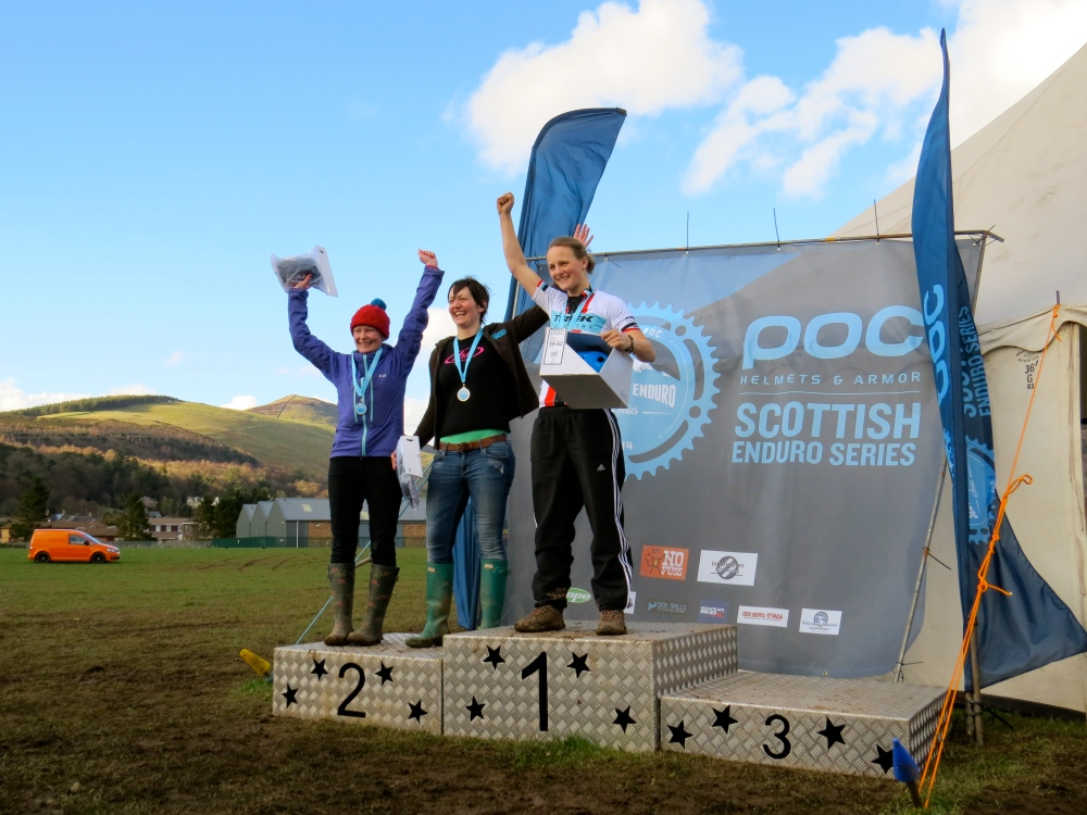Women's podium: 1st Jess Stone; joint 2nd Fiona Beattie and Lesley Ingram
