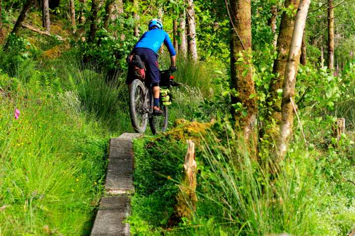 Crazy concrete features on the Inverie trails. A loaded bike made them exciting!