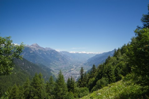 Looking down to Martigny from the Tour du mont Blanc route in Switzerland
