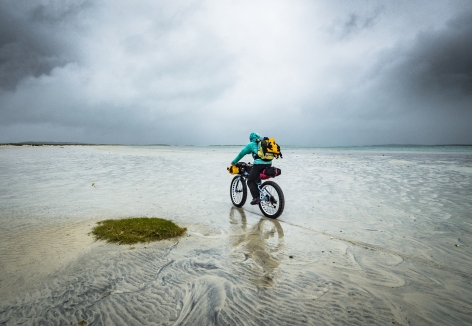 Crossing the sands to Orasaigh in the rain.