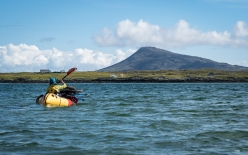 Paddling away from Grimsay towards Eabhal